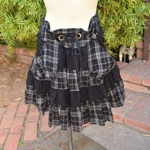 FREE PEOPLE FLANNEL AND COTTON PLAID SKIRT SZ XS